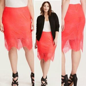 Torrid NeonCoral Stretch Lace Overlay Pencil Skirt